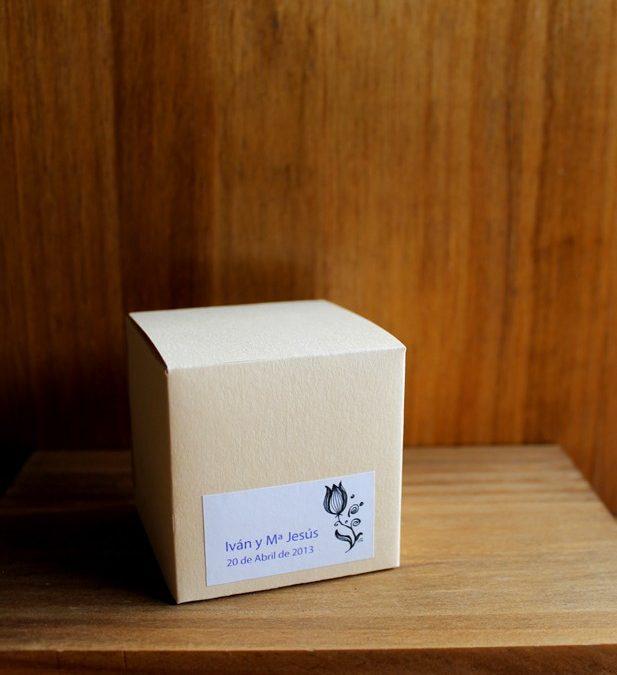 Caja-cubo beige