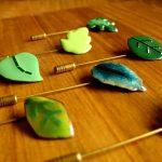 Alfiler de boda con diferentes formas de hojas Gúsim