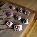 Alfiler de boda color cobre con mosaico de colores Oderi